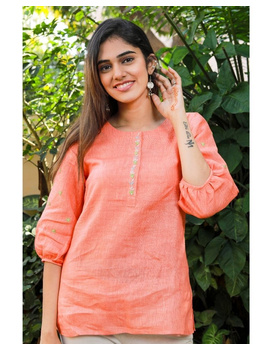 Pure linen tunic with hand embroidery : LT130-LT130Al-M-sm