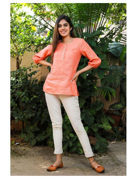 Pure linen tunic with hand embroidery : LT130-Peach-M-2-sm