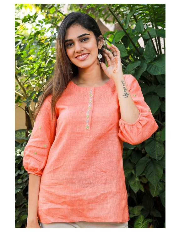 Pure linen tunic with hand embroidery : LT130-LT130Al-XL