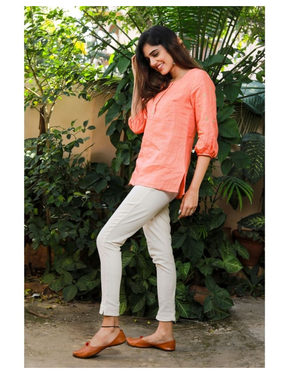 Pure linen tunic with hand embroidery : LT130-Peach-XXL-4