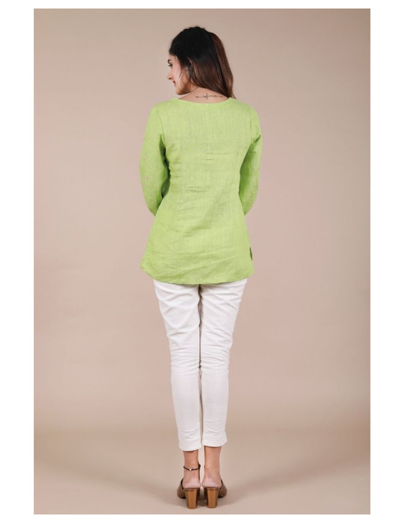 Pure linen tunic with hand embroidery : LT130-Green-L-1