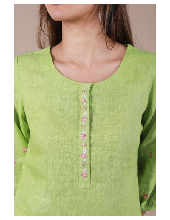 Pure linen tunic with hand embroidery : LT130-Green-L-2