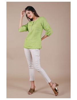 Pure linen tunic with hand embroidery : LT130-LT130Bl-M-sm