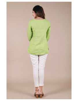 Pure linen tunic with hand embroidery : LT130-Green-M-1-sm