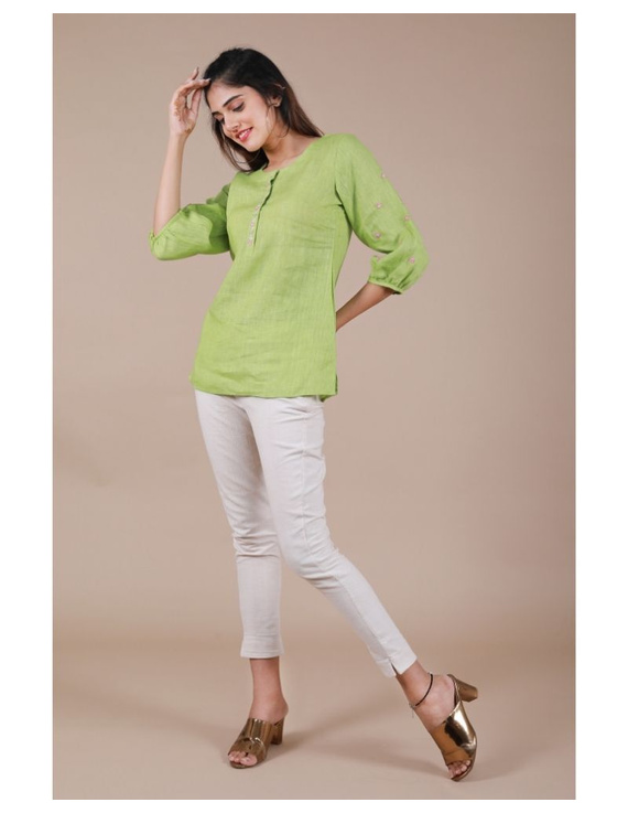 Pure linen tunic with hand embroidery : LT130-LT130Bl-S