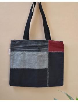Black and grey tonal patchwork tote bag : TBR02-TBR02-sm