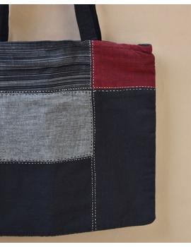 Black and grey tonal patchwork tote bag : TBR02-4-sm