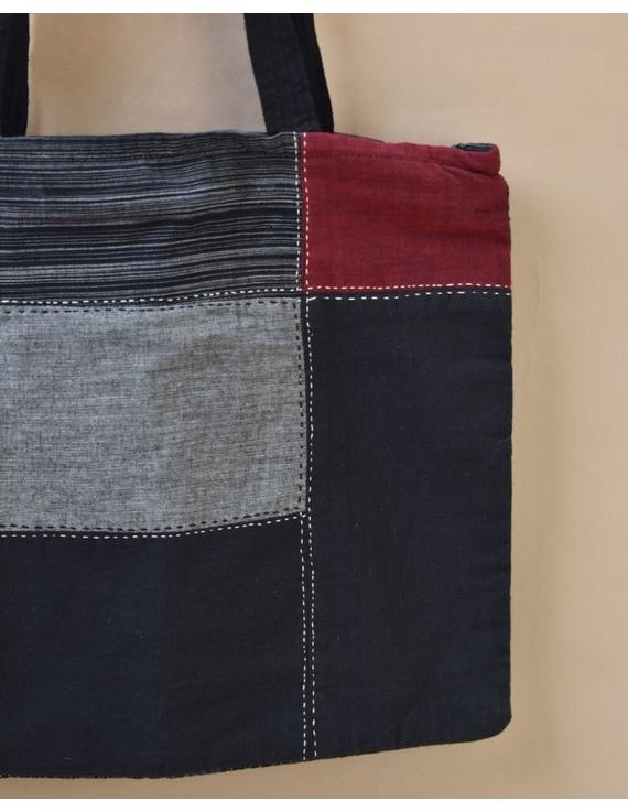 Black and grey tonal patchwork tote bag : TBR02-4