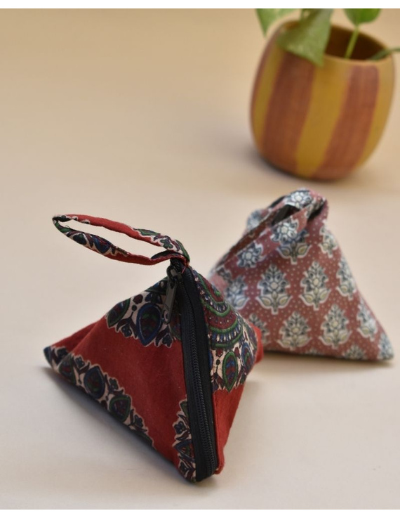 Small coin purse in block print fabric : MSC02-MSC02