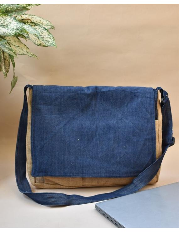BLUE DENIM & JUTE LAPTOP BAG: LBD01-LBD01