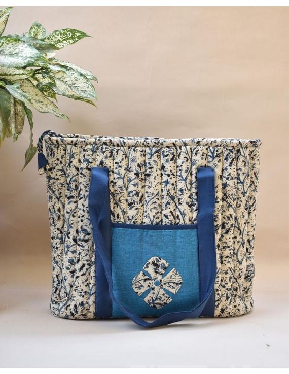 BLUE KALAMKARI SHOULDER CUM LAPTOP BAG: LBK01-LBK01