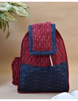 Maroon ikat backpack laptop bag : LBB02-LBB02-sm