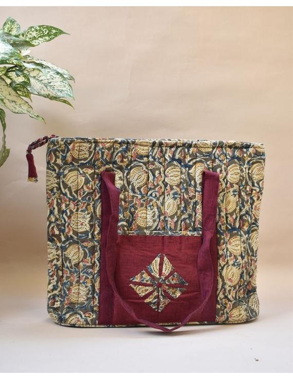 Green and maroon kalamkari quilted laptop bag : LBK04-LBK04