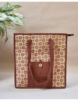 Kalamkari quilted tote bag - large - orange  : TBKL04-TBKL04-sm