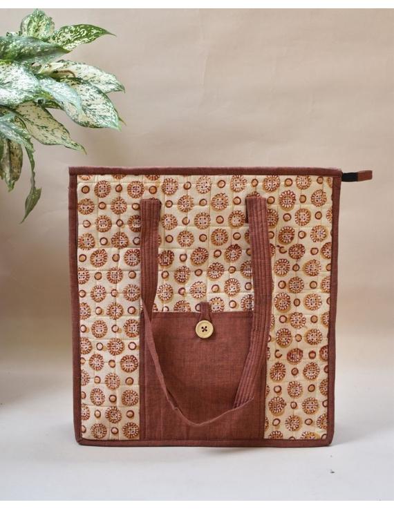 Kalamkari quilted tote bag - large - orange  : TBKL04-TBKL04