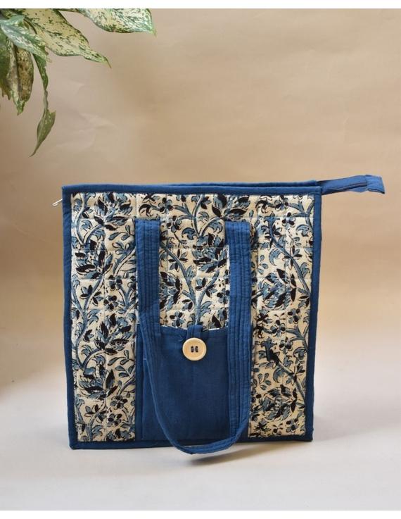 BLUE FLOWER KALAMKARI TOTE BAG - SMALL : TBKS01-TBKS01