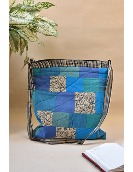 Patchwork quilted jhola bag - blue : SBP01-SBP01-sm