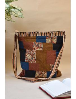 Patchwork quilted jhola bag - brown : SBP02-SBP02-sm