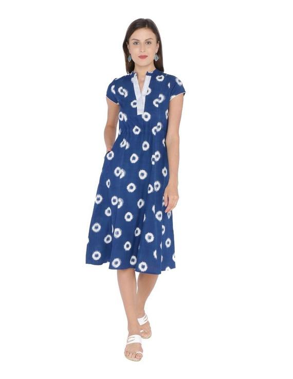 MOTIF A LINE DRESS IN DOUBLE IKAT : LD350-Blue-L-1