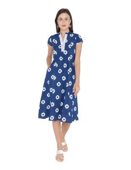MOTIF A LINE DRESS IN DOUBLE IKAT : LD350-Blue-M-1-sm
