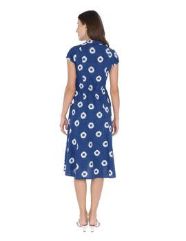 MOTIF A LINE DRESS IN DOUBLE IKAT : LD350-Blue-M-6-sm