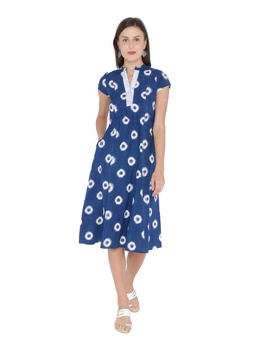 MOTIF A LINE DRESS IN DOUBLE IKAT : LD350-S-Blue-1-sm