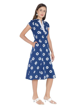 MOTIF A LINE DRESS IN DOUBLE IKAT : LD350-S-Blue-2-sm