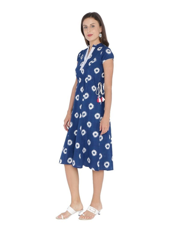 MOTIF A LINE DRESS IN DOUBLE IKAT : LD350-S-Blue-3