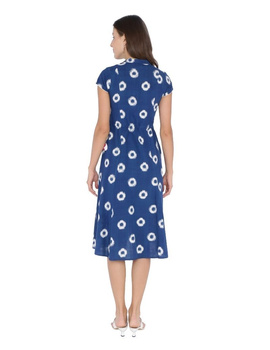 MOTIF A LINE DRESS IN DOUBLE IKAT : LD350-S-Blue-6-sm