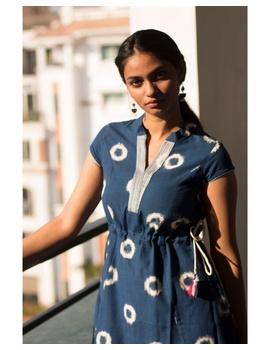 MOTIF A LINE DRESS IN DOUBLE IKAT : LD350-Blue-XXL-7-sm