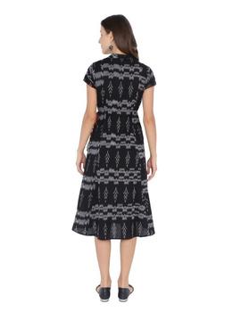 MOTIF A LINE DRESS IN DOUBLE IKAT : LD350-Black-L-1-sm