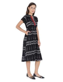 MOTIF A LINE DRESS IN DOUBLE IKAT : LD350-Black-M-3-sm