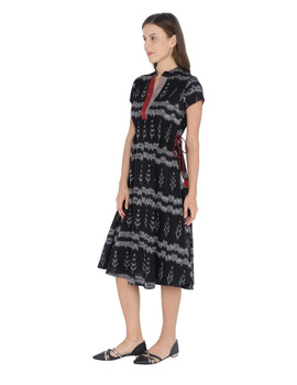 MOTIF A LINE DRESS IN DOUBLE IKAT : LD350-Black-XXL-2-sm