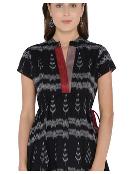 MOTIF A LINE DRESS IN DOUBLE IKAT : LD350-Black-XXL-4-sm