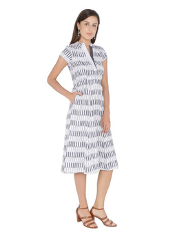 MOTIF A LINE DRESS IN DOUBLE IKAT : LD350-Grey-M-2-sm