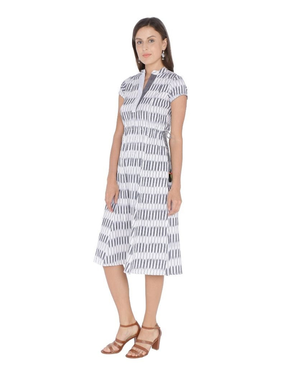 MOTIF A LINE DRESS IN DOUBLE IKAT : LD350-Grey-S-1