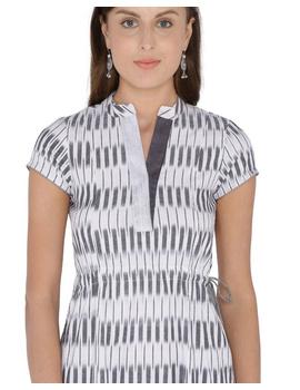 MOTIF A LINE DRESS IN DOUBLE IKAT : LD350-Grey-XL-3-sm