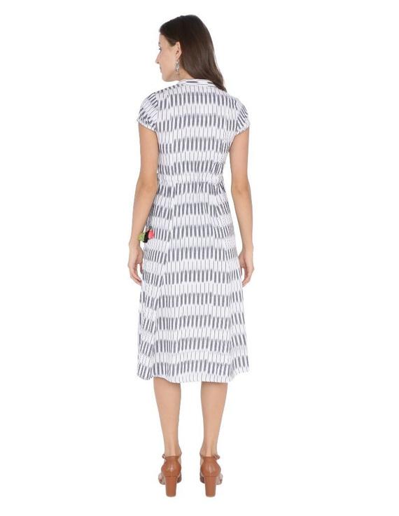 MOTIF A LINE DRESS IN DOUBLE IKAT : LD350-Grey-XXL-4
