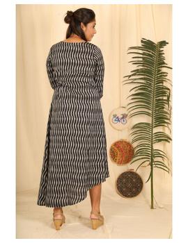Ikkat fabric with an assymetric hem : LD450-S-Black-3-sm