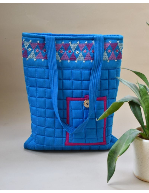 BLUE SILK QUILTED TOTE CUM LAPTOP BAG WITH HAND EMBROIDERY: TBA01-TBA01B