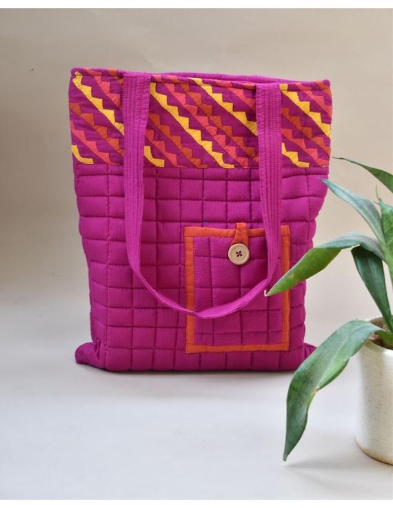 Purple silk quilted tote cum laptop bag : TBA03-TBA03