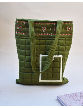 MUSTARD GREEN SILK QUILTED TOTE CUM LAPTOP BAG WITH HAND EMBROIDERY: TBA02-TBA02-sm