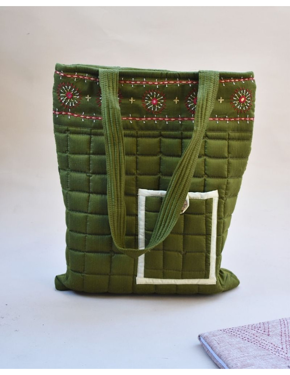MUSTARD GREEN SILK QUILTED TOTE CUM LAPTOP BAG WITH HAND EMBROIDERY: TBA02-TBA02