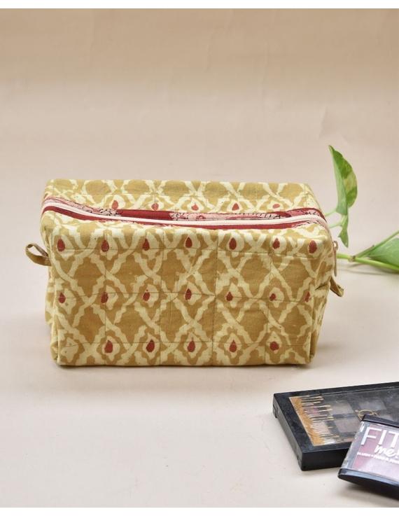 Yellow kalamkari travel pouch : VKP04-VKP04