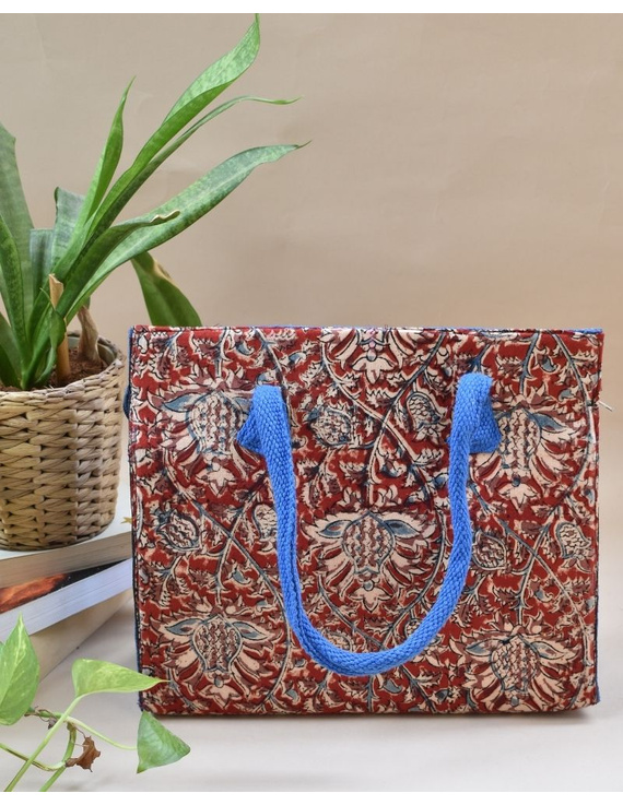 Red and blue jute box bag : TBJ03-TBJ03