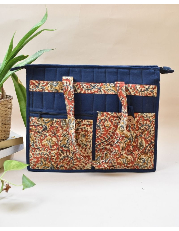 Jute and kalamkari laptop bag - blue : LBJ02-LBJ02
