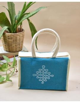BLUE JUTE LUNCH BAG: MSL02-1-sm