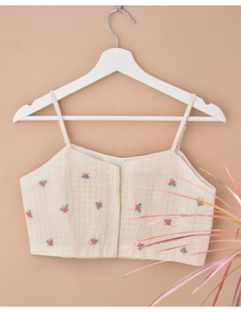 Off-white Strap Blouse with Pastel Rosette Embroidery-RB13A-M-1-sm
