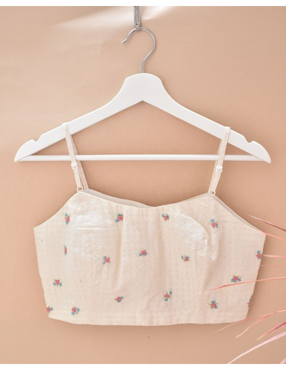 Off-white Strap Blouse with Pastel Rosette Embroidery-RB13A-RB13A-M