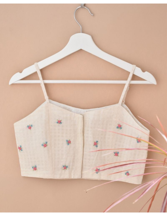 Off-white Strap Blouse with Pastel Rosette Embroidery-RB13A-S-1